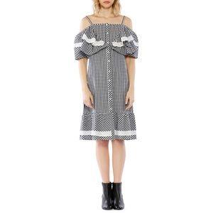 Walter Baker Cold-Shoulder Gingham Print Dress